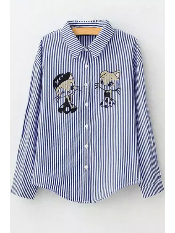 shops Cartoon Print Flat Collar Long Sleeves Shirt - BLUE S