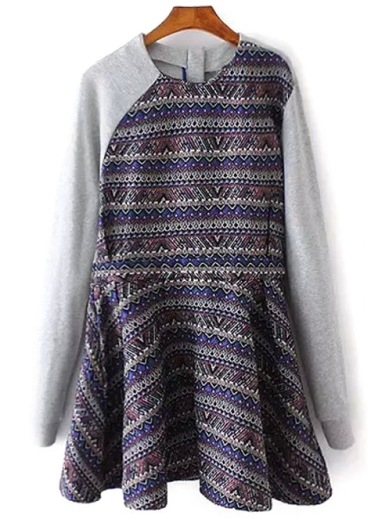affordable Geometric Print Long Sleeves Round Collar Spliced Dress - COLORMIX XS