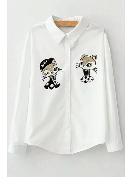women's Long Sleeves Cartoon Print Flat Collar Shirt - WHITE S