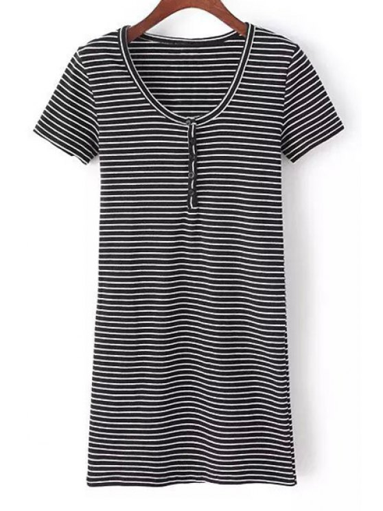 womens Striped Round Button Collar Solid Color Dress - WHITE AND BLACK M