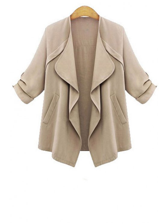 outfits Rolled Sleeve Apricot Trench Coat - APRICOT L
