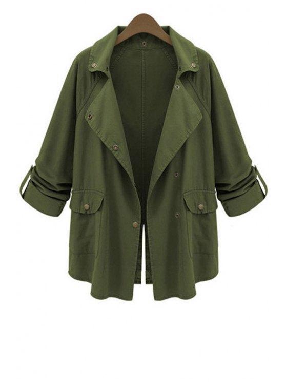 women Lapel Big Pockets Green Trench Coat - ARMY GREEN L
