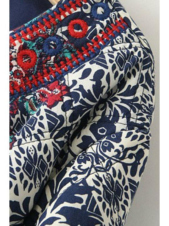 Ethnic Print Long Sleeves Coat - COLORMIX L Mobile