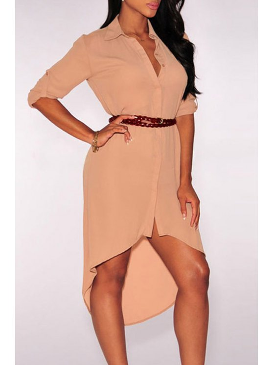 women Single-Breasted High Low Shirt Dress - LIGHT PINK ONE SIZE(FIT SIZE XS TO M)