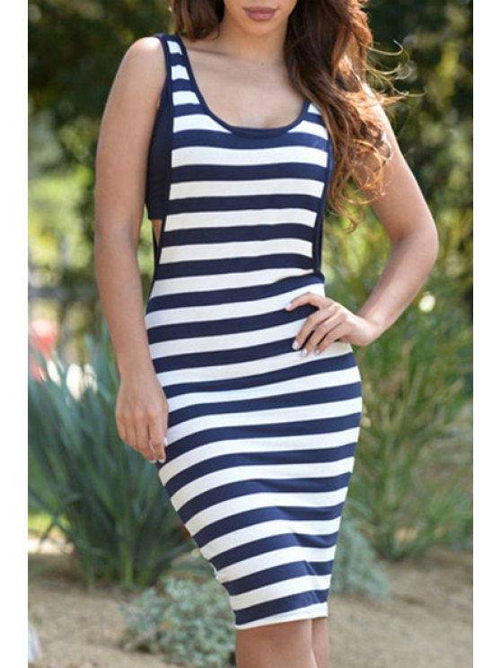 best Sleeveless Striped Cut Out Dress - BLUE AND WHITE ONE SIZE(FIT SIZE XS TO M)