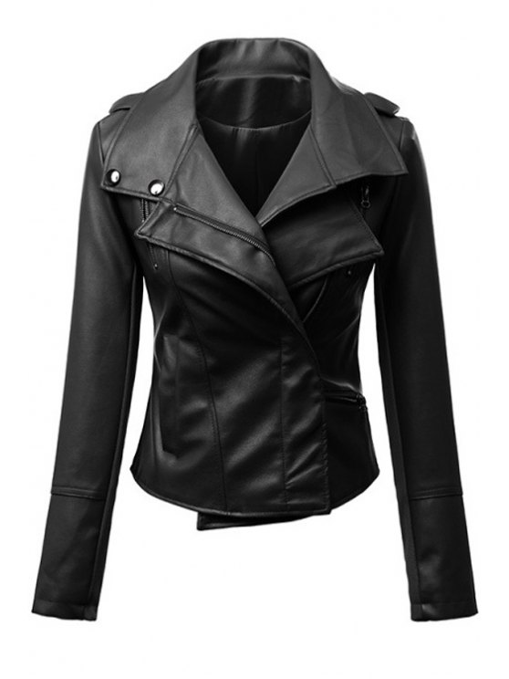 chic Faux Leather Turn Down Collar Long Sleeves Jacket - BLACK S