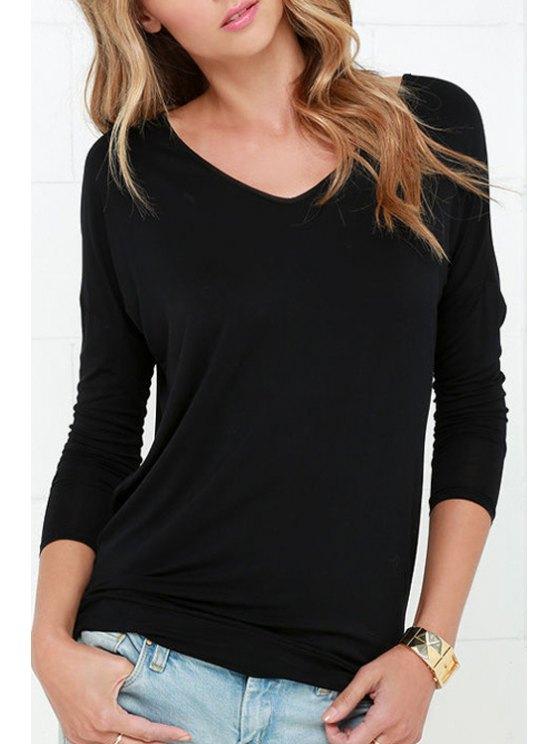 shops Long Sleeve Cut Out T-Shirt - BLACK XS