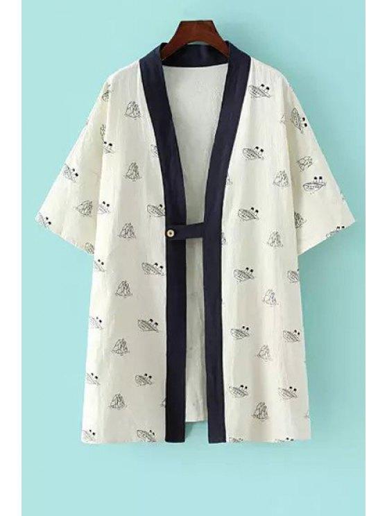 womens Ship Print Half Sleeve Kimono - WHITE ONE SIZE(FIT SIZE XS TO M)