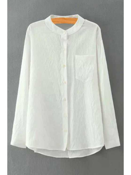 women Pure Color Stand Neck Long Sleeve Shirt - WHITE S