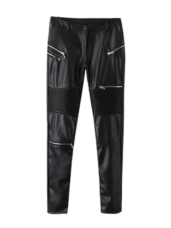buy Faux Leather Black Skinny Pants - BLACK S