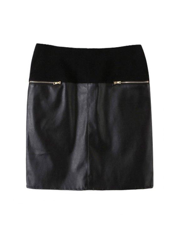 fancy PU Leather Spliced High Waist Skirt - BLACK S