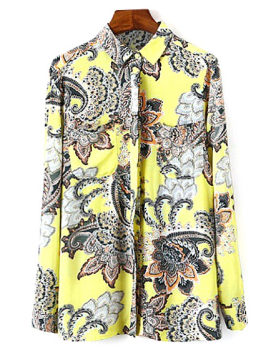 shop Retro Print Turn Down Neck Shirt - AS THE PICTURE S