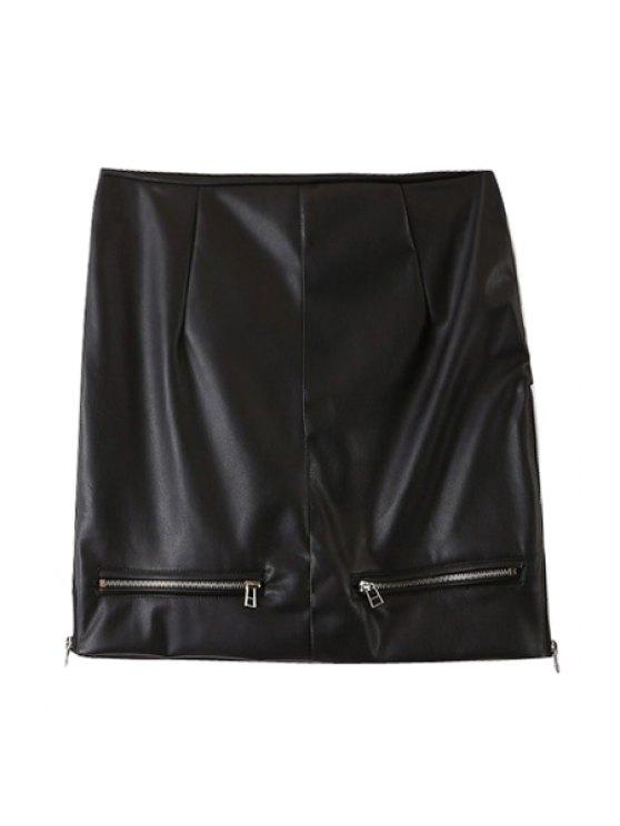trendy PU Leather Zipper High Waist Skirt - BLACK S