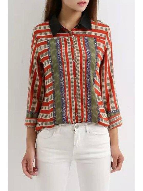 trendy Chain Print Turn Down Collar Long Sleeve Shirt - RED M