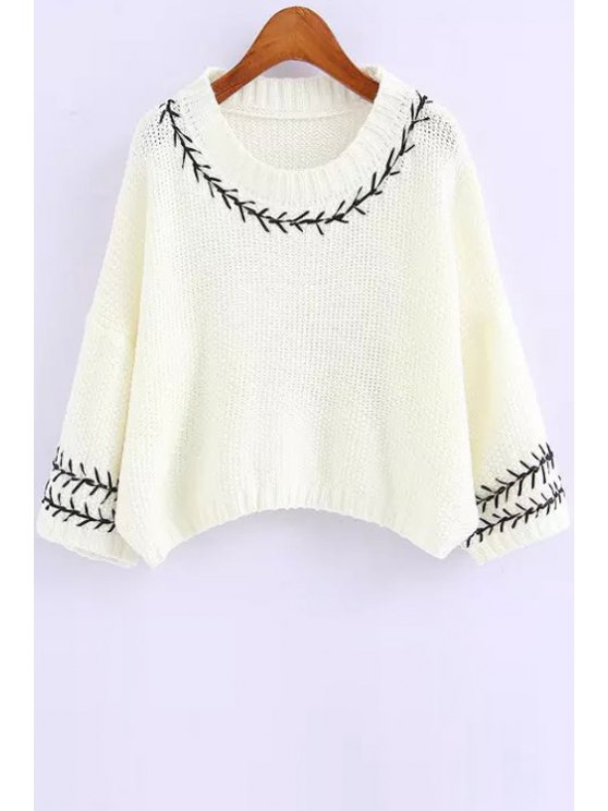 trendy Embroidery 3/4 Sleeve Pure Color Jumper - WHITE ONE SIZE(FIT SIZE XS TO M)
