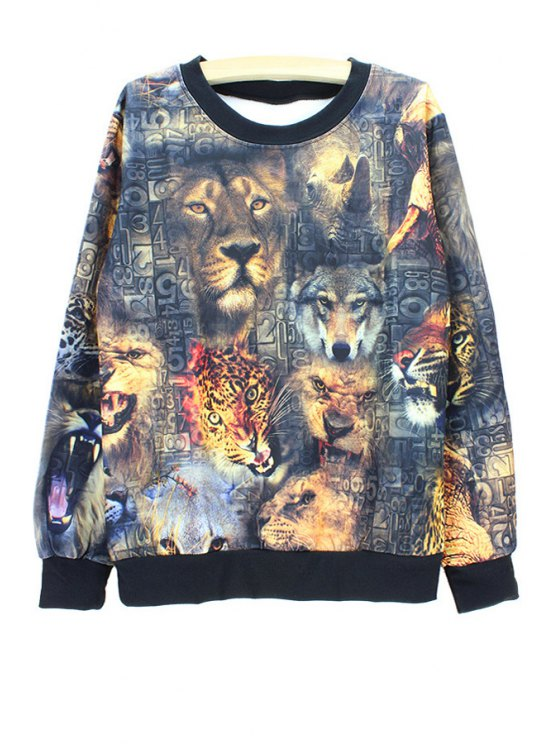 shop Long Sleeves Round Collar Animal Print Sweatshirt - AS THE PICTURE ONE SIZE(FIT SIZE XS TO M)