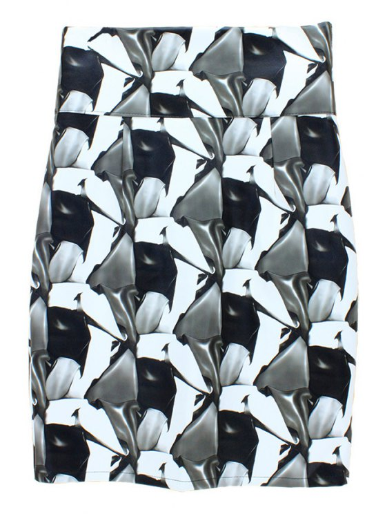 women PU Leather Pencil Houndstooth Skirt - COLORMIX M