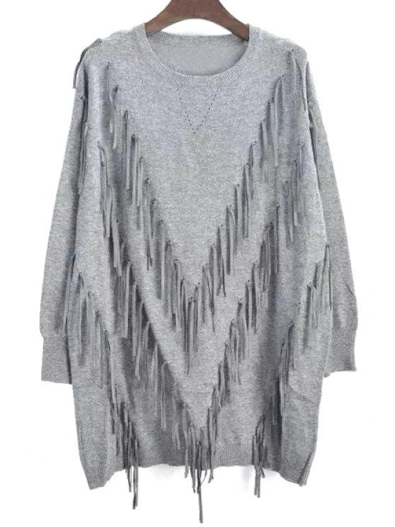 lady Long Sleeve Tassels Long Sweater - GRAY ONE SIZE(FIT SIZE XS TO M)