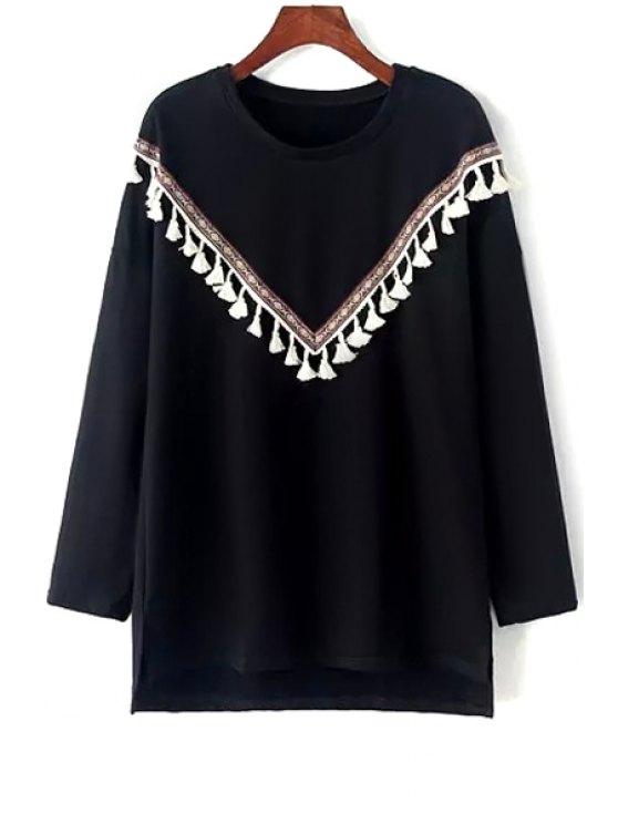 fancy Round Neck Fringed Sweatshirt - BLACK ONE SIZE(FIT SIZE XS TO M)