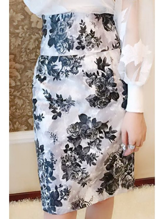 unique Floral Print Sexy Pencil PU Leather Skirt - WHITE AND BLACK M