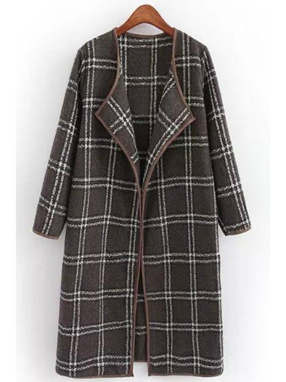 buy Tartan Long Sleeves Collarless Woolen Coat - KHAKI S