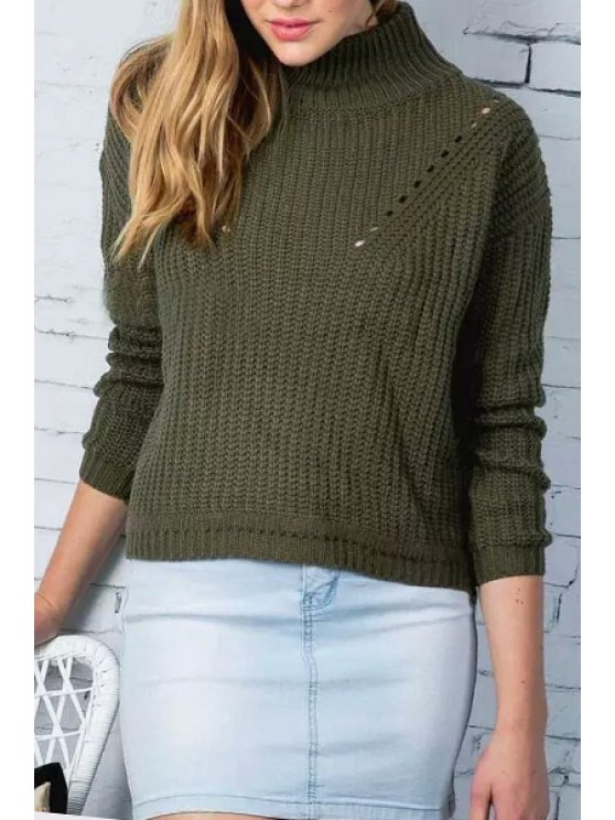 hot Turtle Neck Pure Color Jumper - GREEN ONE SIZE(FIT SIZE XS TO M)