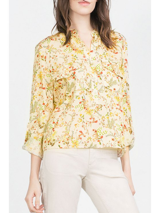 unique Tiny Floral Stand Neck Long Sleeve Shirt - AS THE PICTURE S