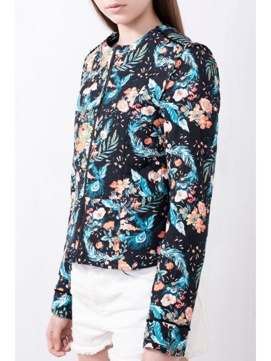 shop Full Floral Round Neck Long Sleeve Coat - BLUE AND BLACK S