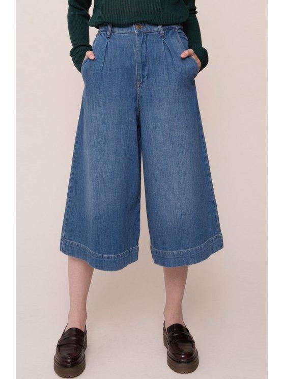 women's Wide Leg Blue Denim Capri Pants - BLUE S