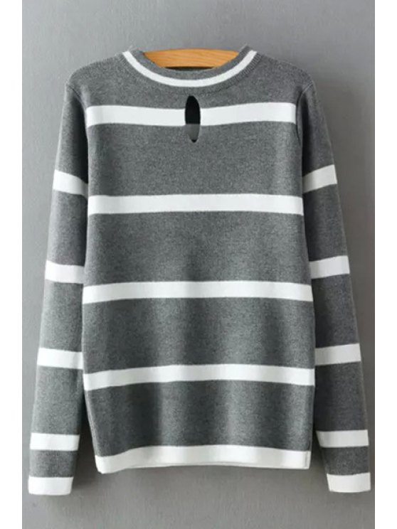 unique Striped Round Collar Cut Out Pullover Sweater - GRAY ONE SIZE(FIT SIZE XS TO M)