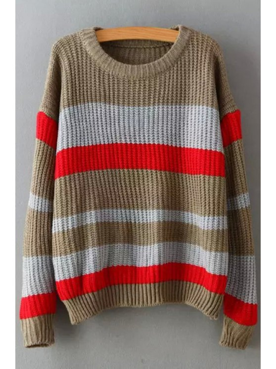 online Striped Round Collar Long Sleeves Pullover Sweater - KHAKI ONE SIZE(FIT SIZE XS TO M)