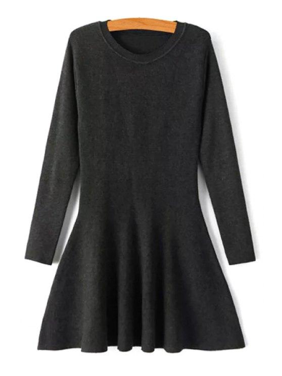 unique Solid Color Sweater Swing Dress - BLACK M