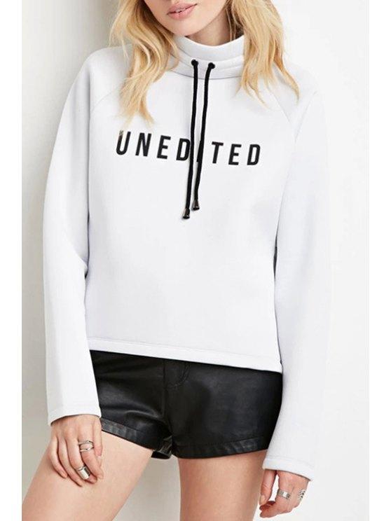 affordable Turtle Neck Space Cotton Sweatshirt - WHITE XS