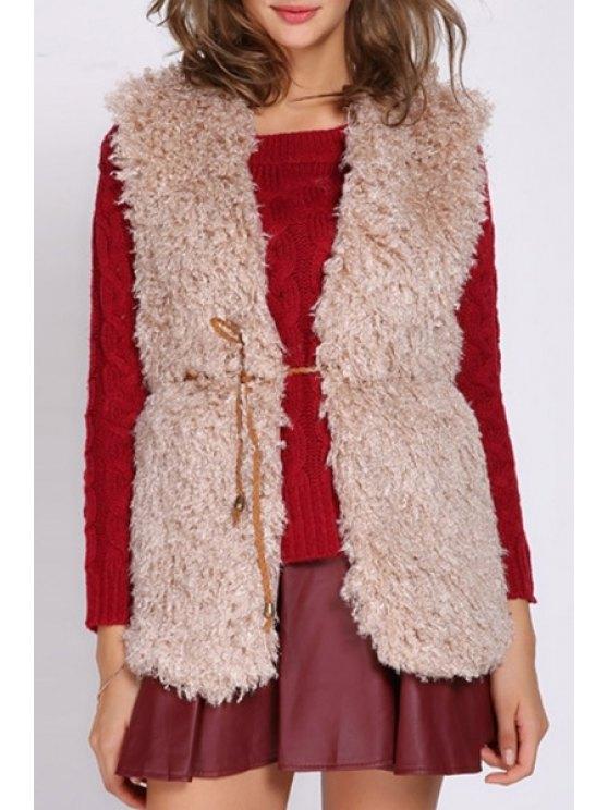 shop Lace-Up Flocking Waistcoat - KHAKI ONE SIZE(FIT SIZE XS TO M)