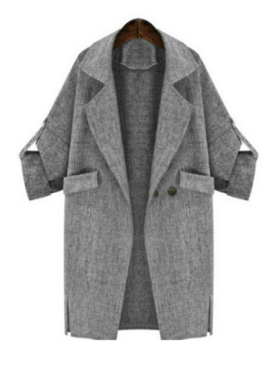 outfit Lapel Light Gray Trench Coat - LIGHT GRAY S