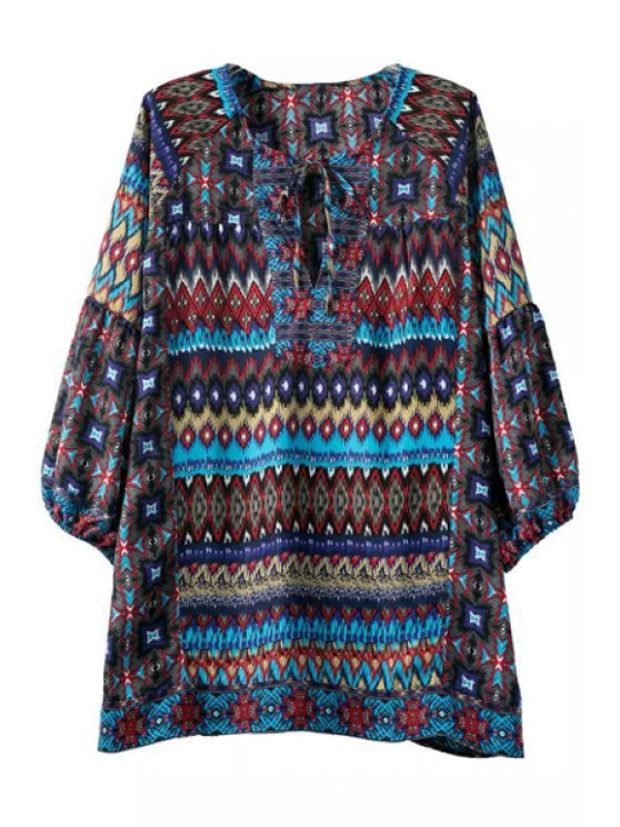 ladies Print Keyhole Neckline 3/4 Sleeve Blouse - AS THE PICTURE S