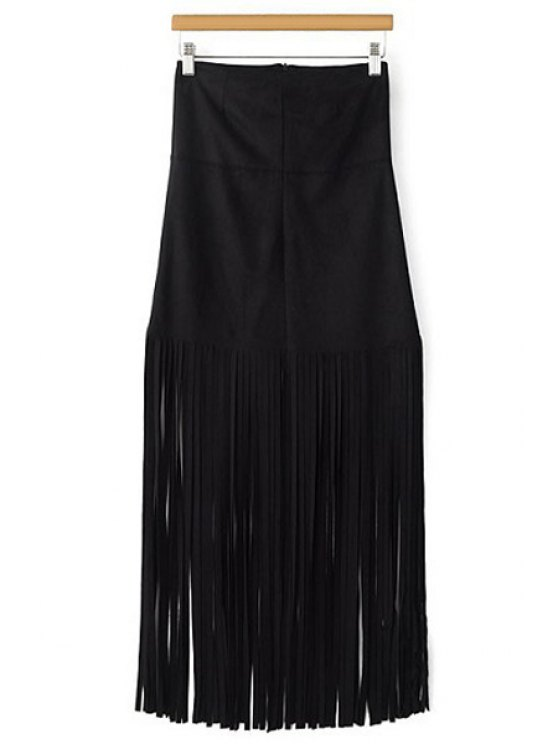best Tassels Spliced High Waisted Skirt - BLACK S