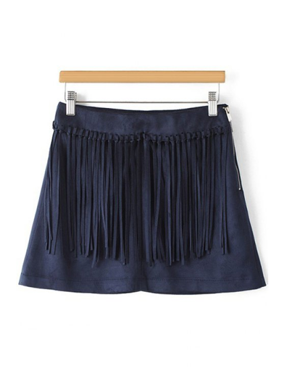 shop Tassels Spliced A Line Skirt - PURPLISH BLUE S