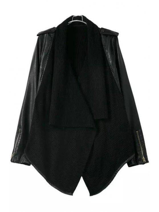 unique Knit Spliced Turn Down Collar Long Sleeve Coat - BLACK S