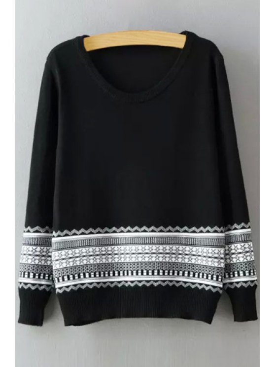 women's Geometric Print Round Collar Long Sleeves Pullover Sweater - BLACK ONE SIZE(FIT SIZE XS TO M)