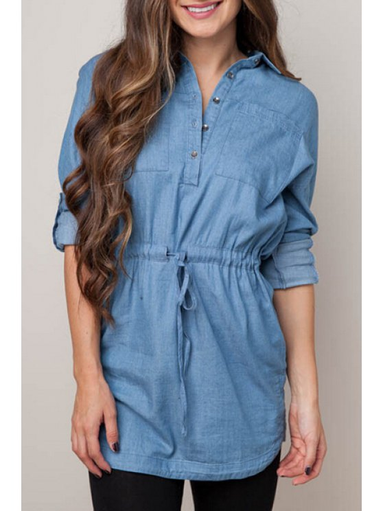 women's Denim Blue Turn Down Collar Long Sleeve Dress - BLUE S