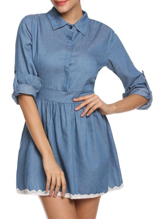 online Blue Denim Long Sleeve A Line Dress - BLUE S