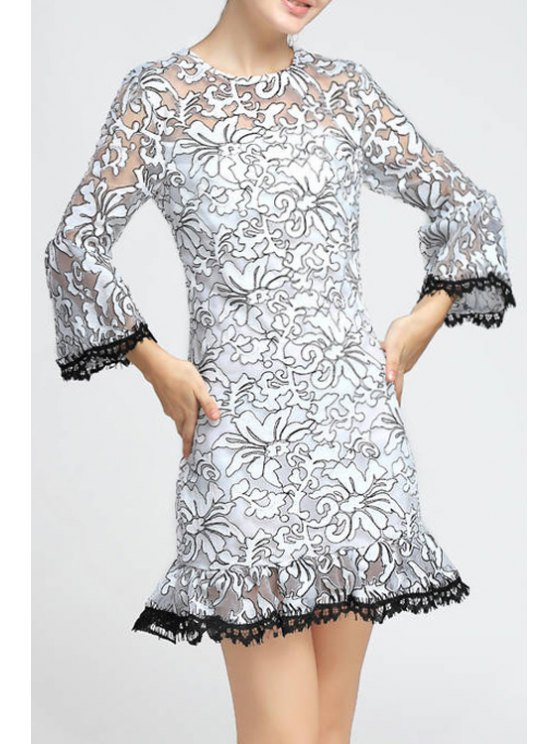 women's See-Through Embroidered Organza Dress - WHITE S