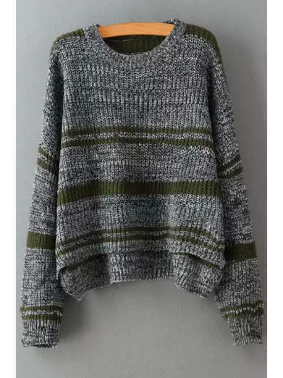 new High Low Hem Long Sleeves Striped Pullover Sweater - DEEP GRAY ONE SIZE(FIT SIZE XS TO M)
