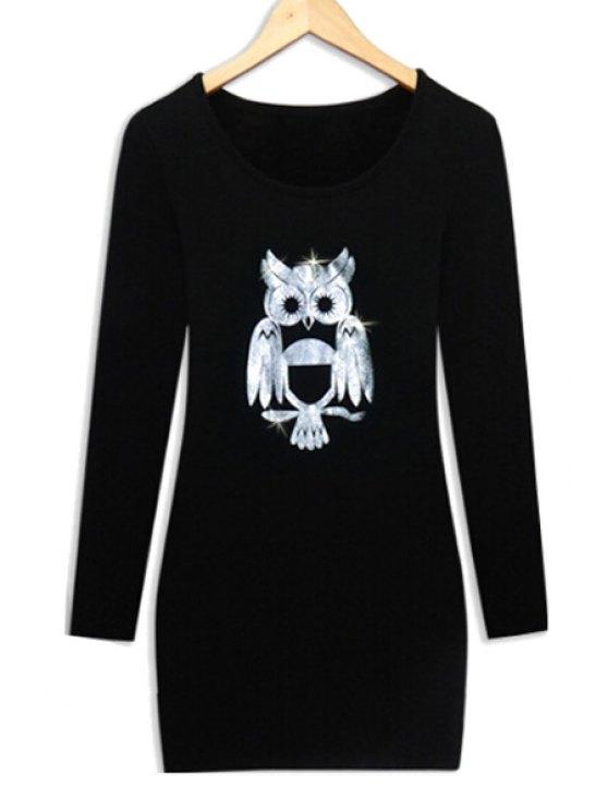 hot Long Sleeve Night Owl Thick Dress - BLACK L