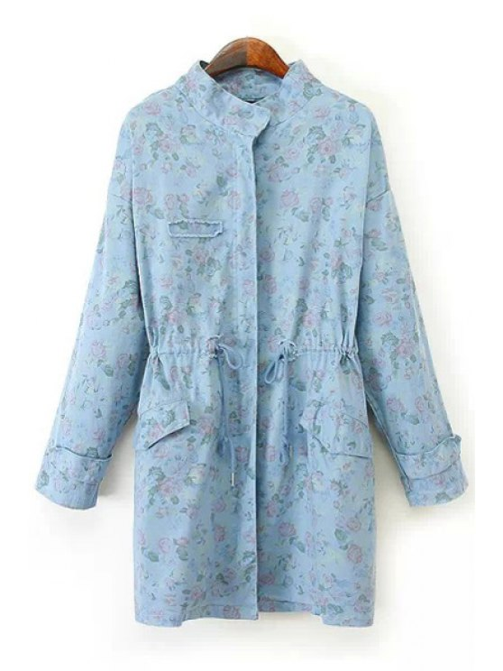 best Floral Print Stand Collar Denim Trench Coat - LIGHT BLUE ONE SIZE(FIT SIZE XS TO M)