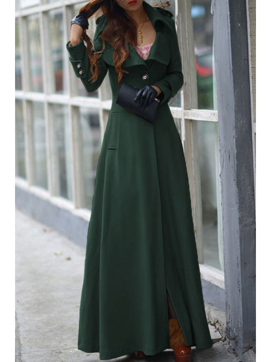 outfits Lapel One Button Faux Wool Coat - BLACKISH GREEN L