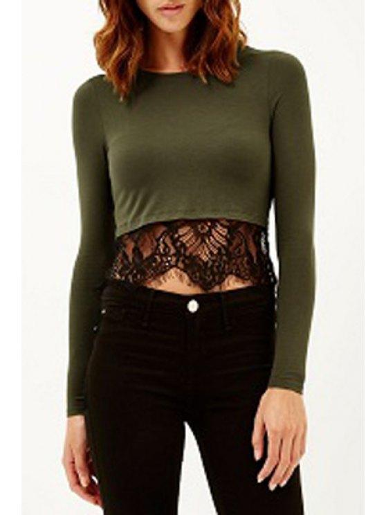 trendy Long Sleeve Lace Spliced Crop Top - BLACKISH GREEN S