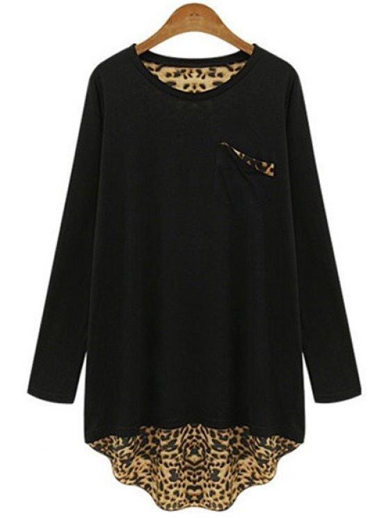 unique Long Sleeve Leopard Back Loose T-Shirt - BLACK XL
