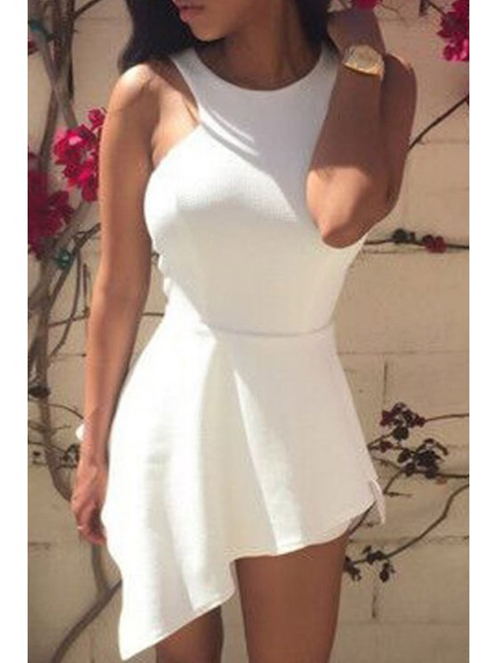 hot Solid Color Irregular Round Collar Sleeveless Romper - WHITE ONE SIZE(FIT SIZE XS TO M)